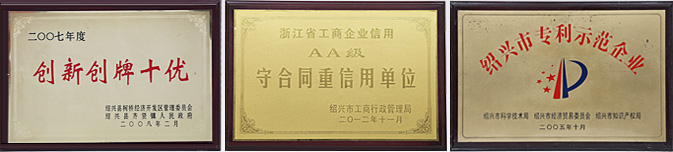 绍兴市越秀带业有限公司荣誉证书